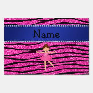 Custom name ballerina pink glitter zebra stripes lawn signs