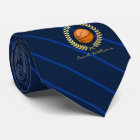 Custom Name Basketball Navy Striped Tie