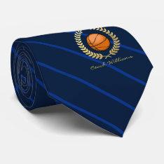 Custom Name Basketball Navy Striped Tie at Zazzle