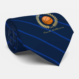 Custom Name Basketball Navy Striped Tie