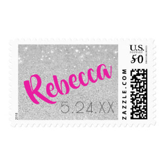 Custom Name Bat Mitzvah Silver Glitter Stamp