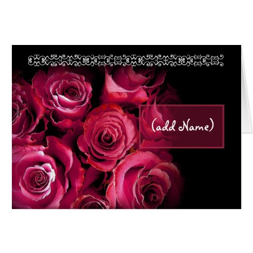 CUSTOM NAME Be My Flower Girl Red Roses Bouquet Card