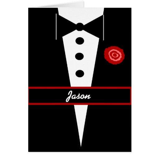 CUSTOM NAME  Be My Groomsman Card with Tux & Rose