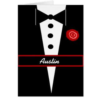 CUSTOM NAME Be My Groomsman Card with Tux Rose V01 Greeting Card