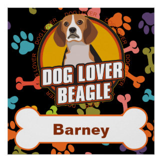 Custom Name Beagle Dog Lover Bone Puppy Paws Poster