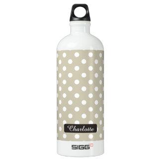 Custom Name Beige Neutral Polka Dots Stylish Chic Aluminum Water Bottle