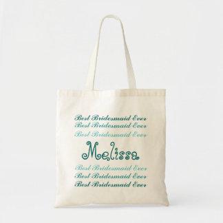 Custom Name Best Bridesmaid Ever Aqua and Teal V2 Canvas Bags