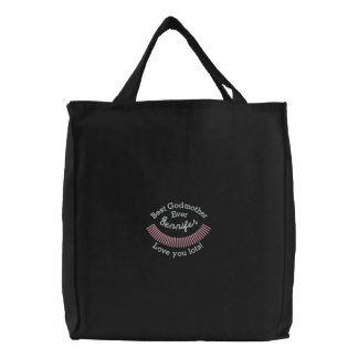 CUSTOM NAME - Best GodmotherEver Embroidered Tote Bags