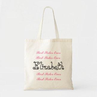 Custom Name Best Sister Ever Pink Black Script Budget Tote Bag