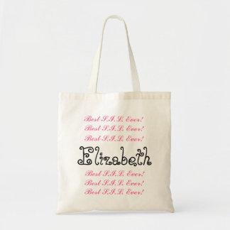 Custom Name Best Sister in  Ever Pink Black Script Tote Bags