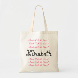 Custom Name Best Sister in  Ever Pink Black Script Budget Tote Bag