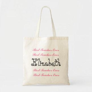 Custom Name Best Teacher  Ever Pink Black Script Tote Bag