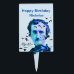 "Custom Name  Birthday Edgar Allan Poe Ravens Cake Topper<br><div class=""desc"">Know someone who loves Edgar Allan Poe?   This is the perfect cake topper for them.  Edgar Allan Poe vintage photo redone in blue to reflect his mood when he wrote the poem &quot;The Raven&quot;</div>"