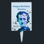 """Custom Name  Birthday Edgar Allan Poe Ravens Cake Topper<br><div class=""""desc"""">Know someone who loves Edgar Allan Poe?   This is the perfect cake topper for them.  Edgar Allan Poe vintage photo redone in blue to reflect his mood when he wrote the poem &quot;The Raven&quot;</div>"""