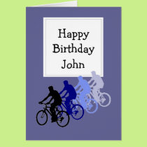 Custom Name Birthday for Bike, Cycle Fan Card