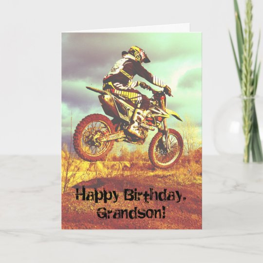 Custom Name Birthday For Boy Dirt Bike Card Zazzle