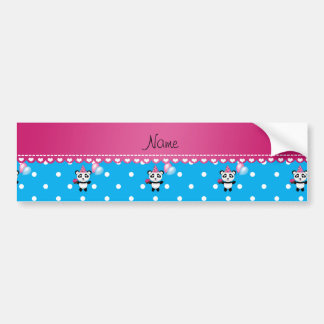Custom name birthday panda blue white dots bumper sticker