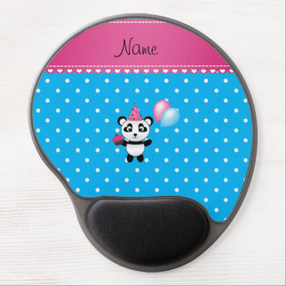 Custom name birthday panda blue white dots gel mouse mats