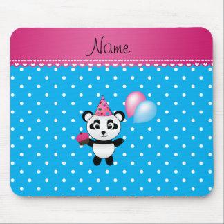 Custom name birthday panda blue white dots mousepad