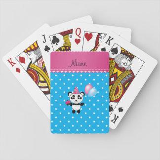 Custom name birthday panda blue white dots deck of cards