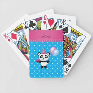 Custom name birthday panda blue white dots bicycle playing cards