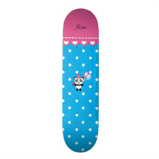 Custom name birthday panda blue white dots custom skate board