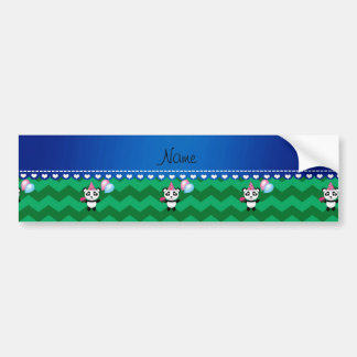 Custom name birthday panda green chevrons bumper sticker