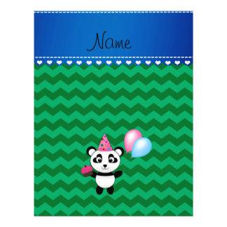 Custom name birthday panda green chevrons flyer design