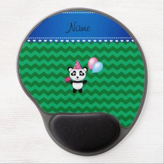 Custom name birthday panda green chevrons gel mouse pad