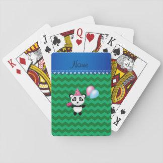 Custom name birthday panda green chevrons card decks