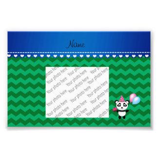 Custom name birthday panda green chevrons photo print