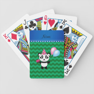 Custom name birthday panda green chevrons bicycle playing cards