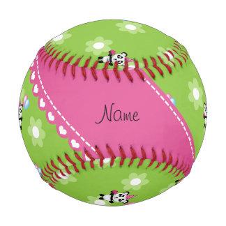 Custom name birthday panda green flowers baseball