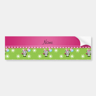 Custom name birthday panda green flowers bumper stickers