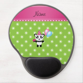 Custom name birthday panda green flowers gel mouse mat