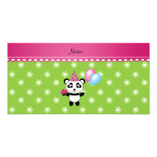 Custom name birthday panda green flowers customized photo card