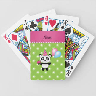 Custom name birthday panda green flowers bicycle playing cards
