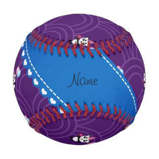 Custom name birthday panda purple half circles baseball