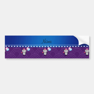 Custom name birthday panda purple half circles bumper sticker