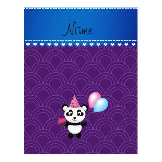 Custom name birthday panda purple half circles flyers