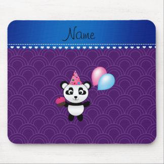 Custom name birthday panda purple half circles mouse pad