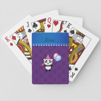 Custom name birthday panda purple half circles card decks