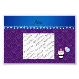 Custom name birthday panda purple half circles photo print