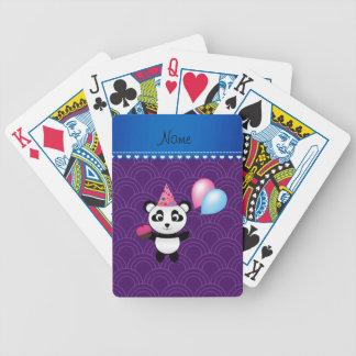 Custom name birthday panda purple half circles bicycle playing cards