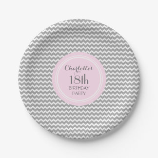 Custom Name Birthday Plates Grey Pink Chevron 7 Inch Paper Plate