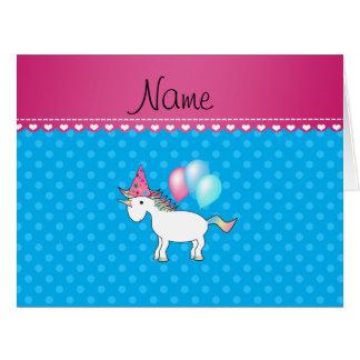 Custom name birthday unicorn blue polka dots greeting cards