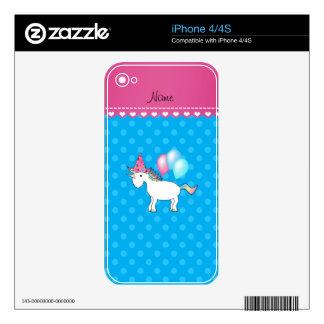Custom name birthday unicorn blue polka dots decals for iPhone 4S