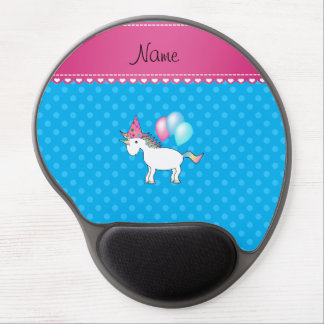 Custom name birthday unicorn blue polka dots gel mouse pads