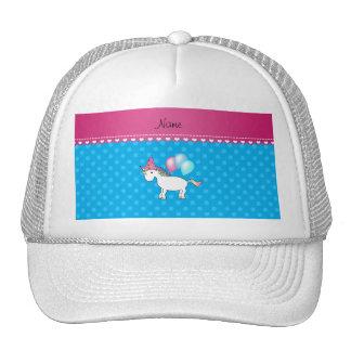 Custom name birthday unicorn blue polka dots trucker hat