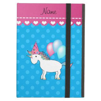 Custom name birthday unicorn blue polka dots iPad air cover
